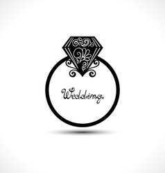Wedding Ring with Diamond vector image