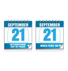 world peace day wall calendar set vector image
