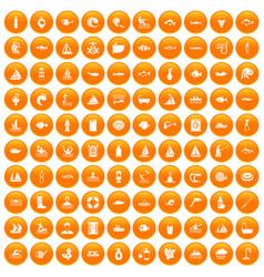 100 water icons set orange vector