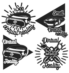 Vintage virtual reality emblems vector
