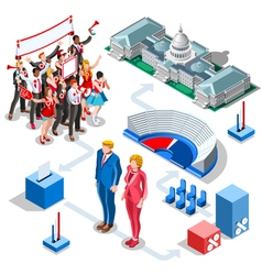 Election infographic us politics isometric people vector