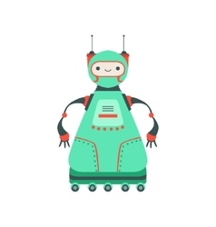 Green friendly android robot character on six vector