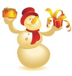 Snowman with cake and gift in warm colors vector image