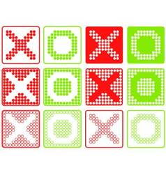 Yes no symbols patchwork of color dots vector