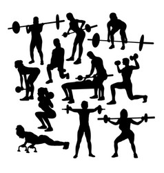 Lifter fitness gym activity silhouettes vector