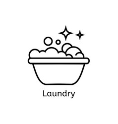 Basin with soap simple line icon laundry thin vector