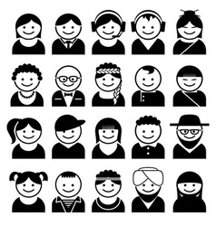 Peoples avatar icons vector