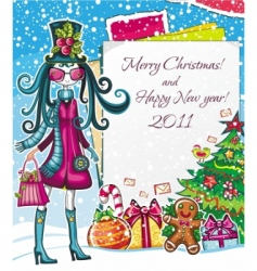 Christmas paper girl sale good vector