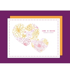 Flowers outlined heart symbol frame pattern vector