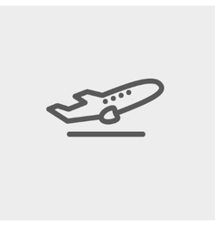 Airplane takeoff thin line icon vector
