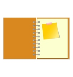 Open notebook with yellow sticker vector