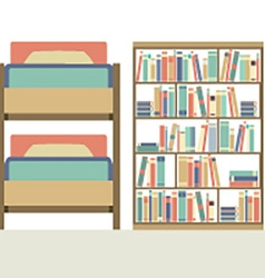Flat design bunk bed with big bookcase vector
