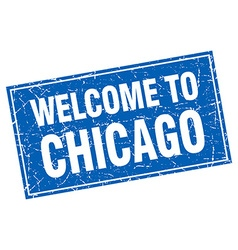Chicago blue square grunge welcome to stamp vector