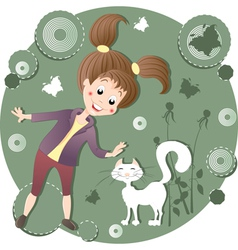 Girl stroking a cat vector