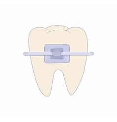 Braces on tooth icon cartoon style vector image