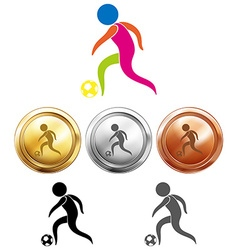 Soccer icon and sport medals vector image