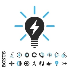 Electric light bulb flat icon with bonus vector