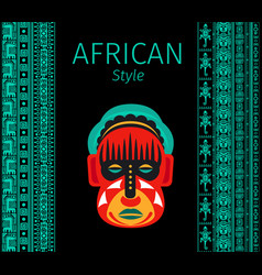 African blue borders and mask vector