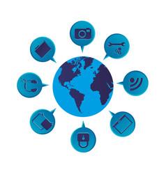 Blue color world map globe with dialogue social vector