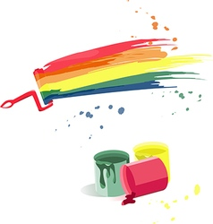 Cans of paint and splashes of different colors vector