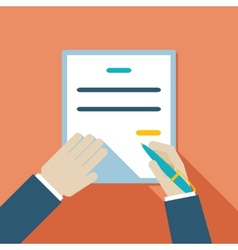 Cartooned hand signing contract vector
