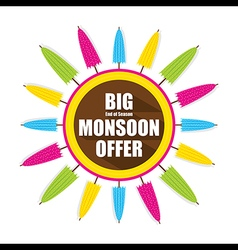 Colorful umbrella banner for big monsoon offer vector