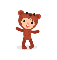 comic boy or girl character in plush brown bear vector image