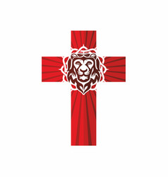 Cross crown of thorns and lion vector