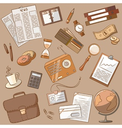 Cute doodle on the business theme vintage style vector image
