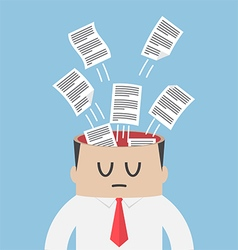 Data paper flying out from businessman head vector