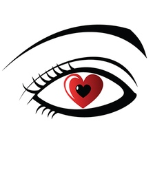 Eye with heart design vector image vector image