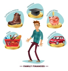 Family budget planning flat composition poster vector