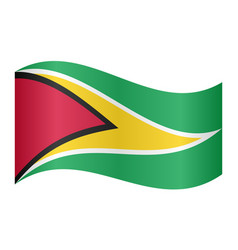 Flag of guyana waving on white background vector