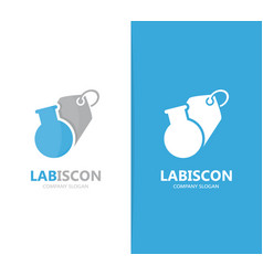 Flask and tag logo combination vector