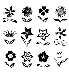 Flower icon set black cutout silhouettes on white vector