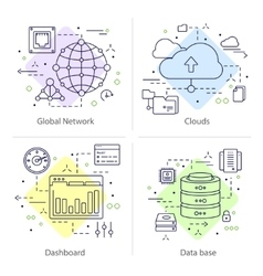 Four Datacenter Icon Set vector image vector image