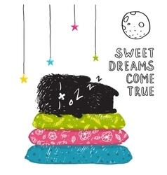 Funny cute little black monster sleeping dreams vector