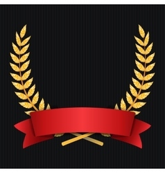 Gold Laurel Shine Wreath Award Design Red vector image