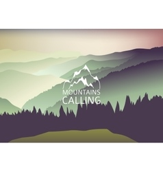 green Sundown in the mountain - Background vector image vector image