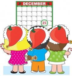 kids Christmas calendar vector image vector image