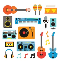 Music instruments objects set vector