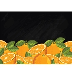 Orange fruit composition on chalkboard vector