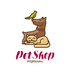 Pet shop label or logo animals parrot dog cat vector