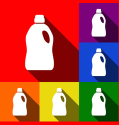 Plastic bottle for cleaning set of icons vector