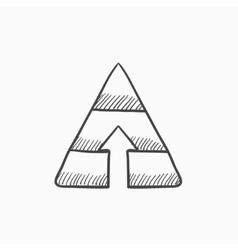 Pyramid with arrow up sketch icon vector image vector image