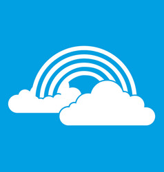 Rainbow and clouds icon white vector
