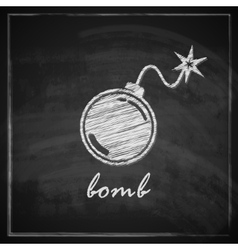 vintage with bomb on blackboard background vector image
