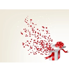 Opened gift box with flying hearts valentines card vector