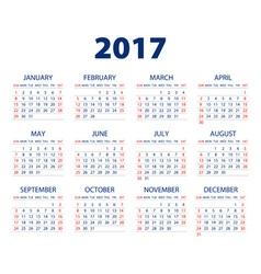 Calendar for 2017 on white background eps10 vector