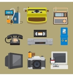 Retro gadgets icons vector